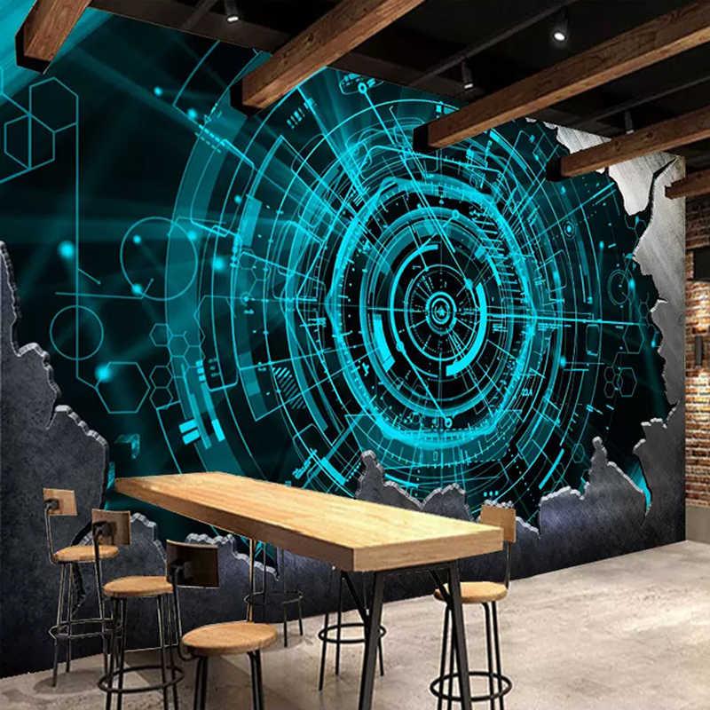 مخصص صور خلفيات الحديثة 3D تكنولوجيا الفولاذ شريط مطعم حائط الخلفية الجداريات مجردة الفن ورق حائط Papel دي Parede