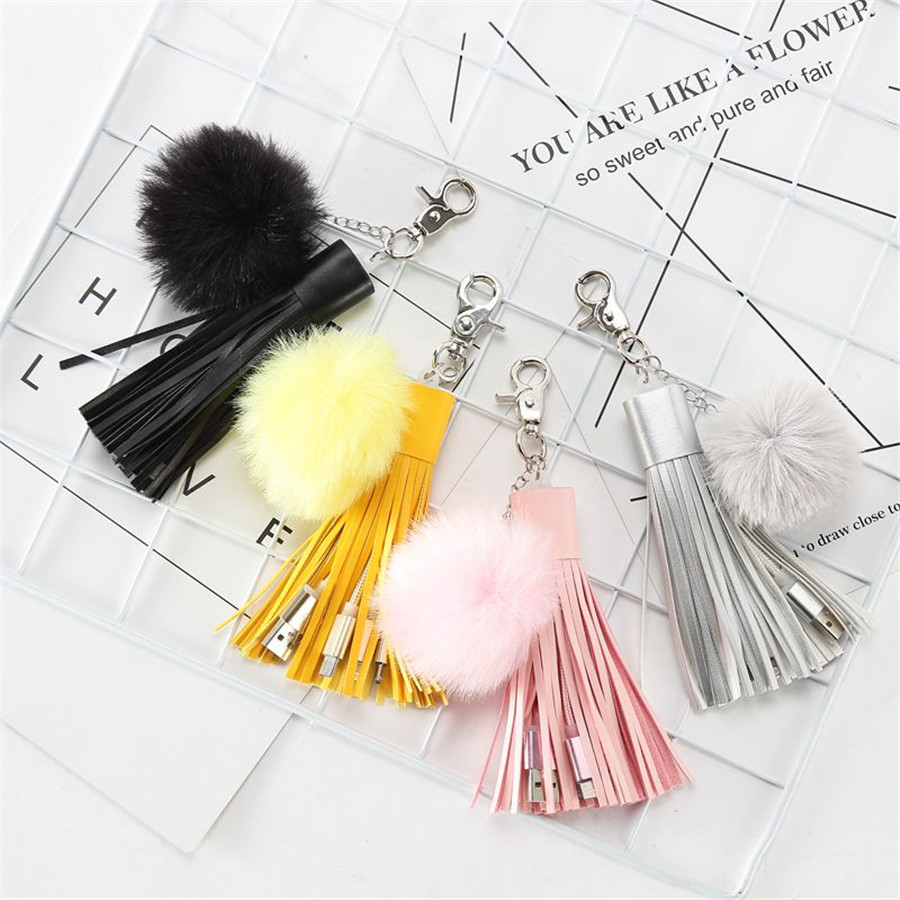 Persevering Multifunctional Usb Braided Cord Charger Bag Pendant Tassel Puffy Ball Keychain Accessories Pompom Decorative Jewelry Charm Bp01 Modern Design Bag Parts & Accessories