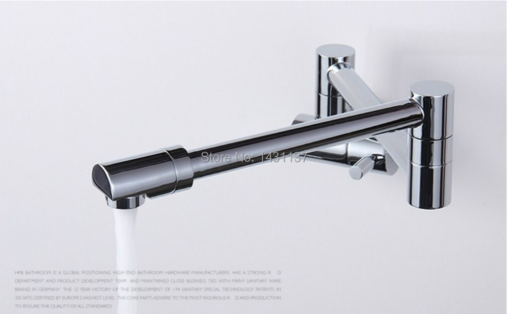 ФОТО Copper wall mounted Folding Single Cold unique design kitchen sink faucet or basin faucet sink tap