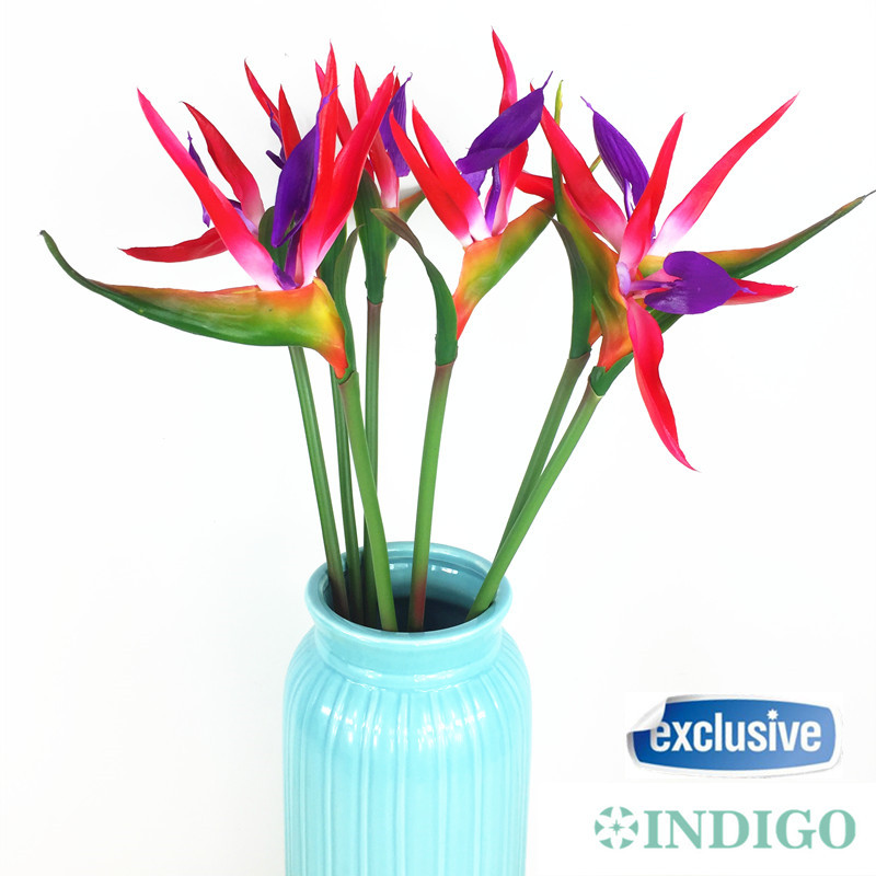 INDIGO-New 5pcs Bird Of Paradise Orchids Bouquet Real Touch matrimonio fiore artificiale fiore floreale festa evento spedizione gratuita