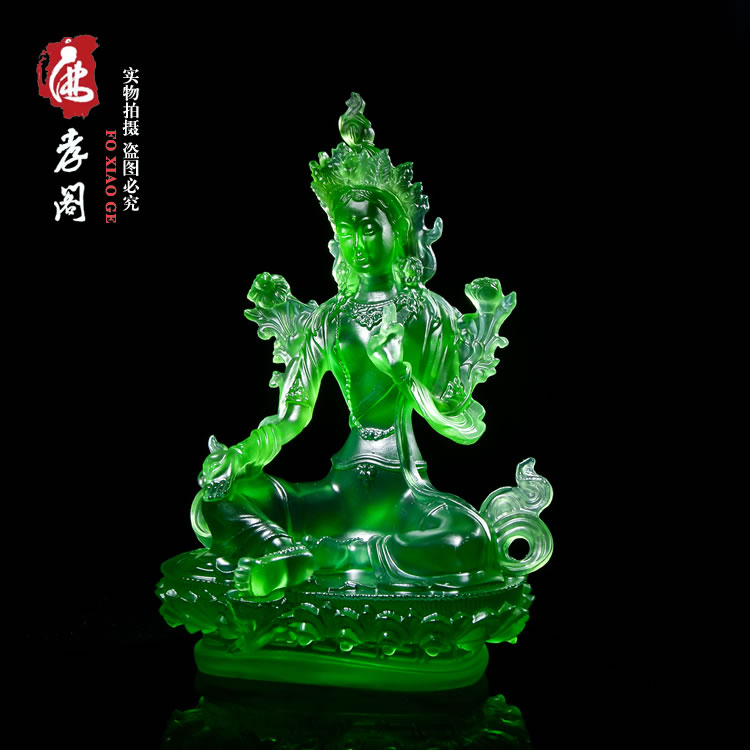 Tibetan Buddhist Green Tara, glazed Buddha statue, Tantra Buddha statue is 21 centimeters tall