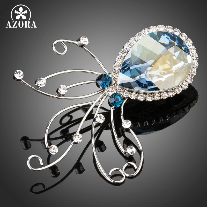 AZORA Sparking Sea Blue Top Stellux Austrian Crystal Octopus Animal Pin Brooch TP0051 seiko настенные часы seiko qha004ln коллекция настенные часы