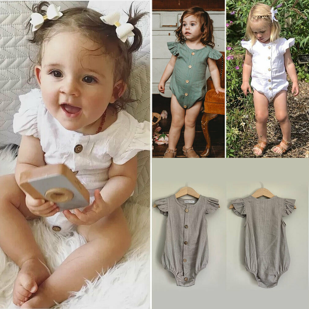 US Infants Baby Girls 0-24M Pure Color Feifei Sleeve   Romper   Jumpsuit Clothes