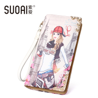 SUOAI Women Wallets Fashion Pu Leather Lady Long Purse Girls Character Zipper Cute Wallet DOLLARS Price