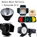Godox Bowens Mount Reflector for Studio Flash + BD-04 Barn Door Honeycomb Grid +4 color Filter