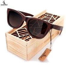 100% natürlichen Ebenholz Holz Sonnenbrille männer Luxusmarke Design Platz Polarisierten Sonnenbrille Mit Holz Geschenkbox