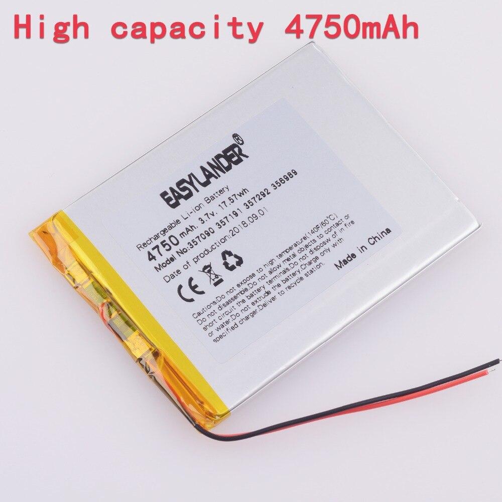 357090 3.7 v 4750 mah Ricaricabile Ai Polimeri di li Batteria Per Tablet PC cube U25GT U51GT talk7x 4g N12 N10 suo Lixin S18 Parlare 7x
