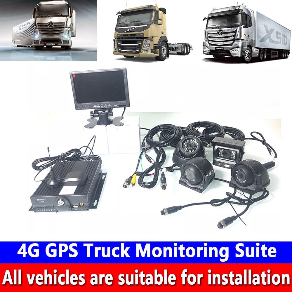 4-channel HD remoto + posicionamento + dual cartão SD de armazenamento 4G Suíte Monitoramento GPS Do Caminhão caminhão de Lixo /empilhadeira/ônibus