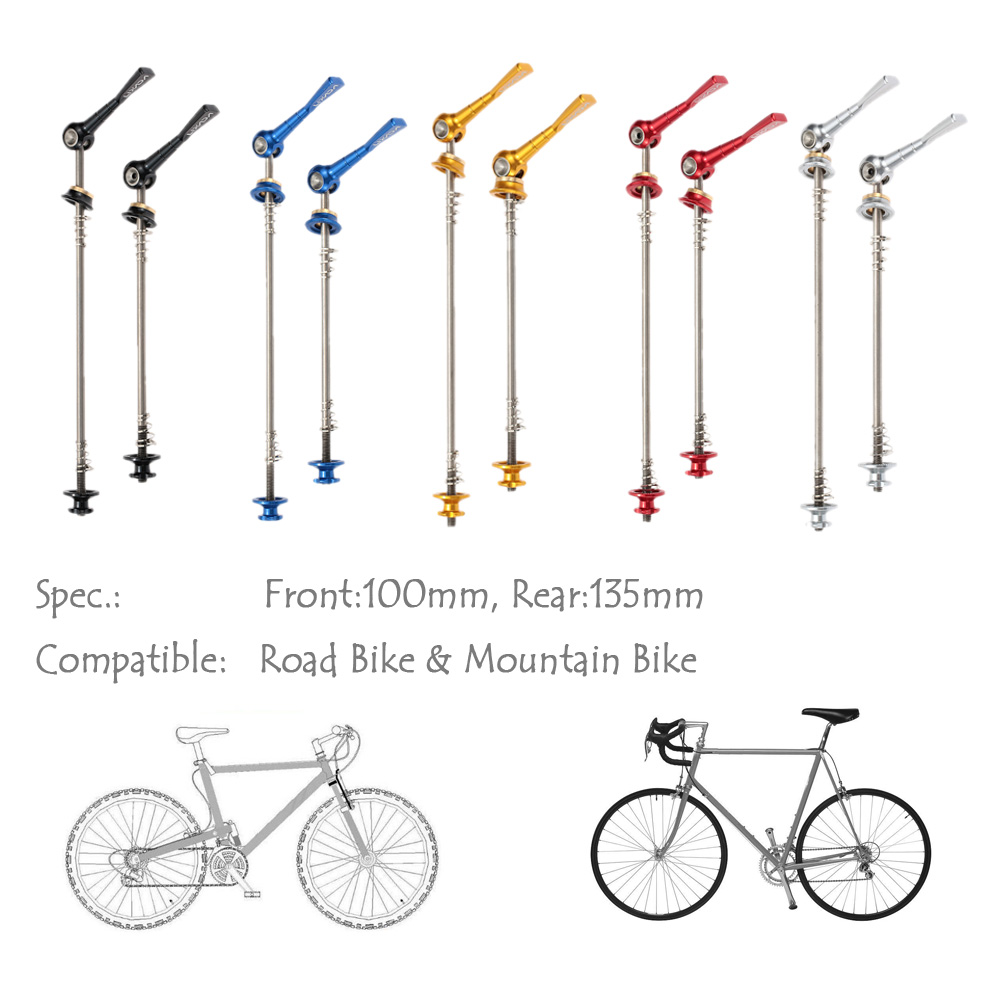 1 Pair Bicycle Front and Rear Quick Release Wheel Hub Skewer for MTB Bike