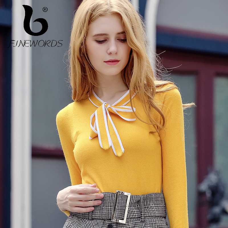 FINEWORDS 2017 Cashmere Slim Cute Bowtie Solid Knitted christmas sweater women Knit Sweet pullover Casual Stretch New pull femme