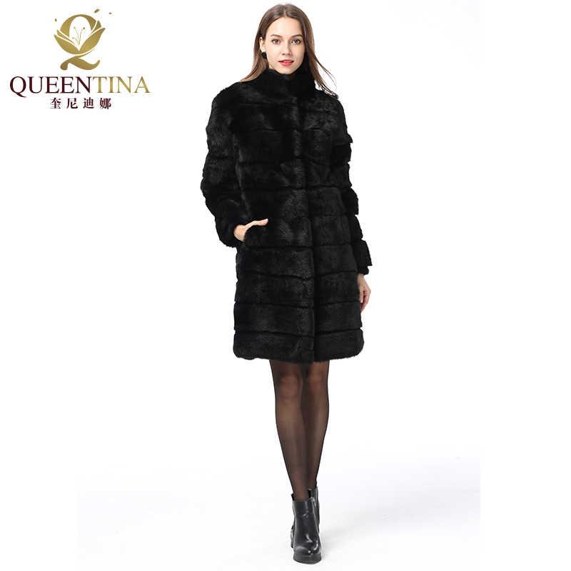 Новинка 2018, зимнее пальто с натуральным кроличьим мехом, воротник-стойка, толстый мягкий теплый натуральный меховой Длинный жилет, женская верхняя одежда, полностью из кожи и меха, пальто
