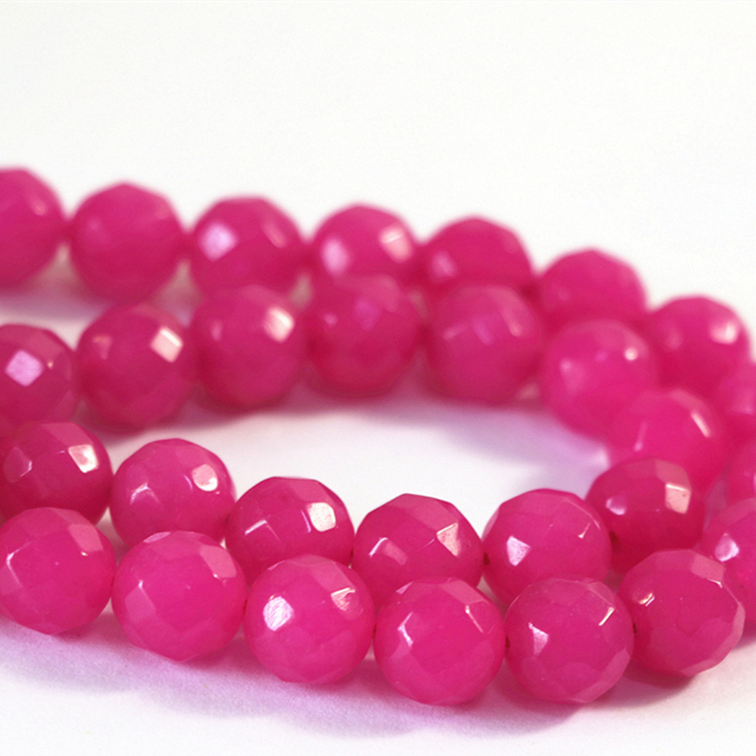 3 style natural stone dyed pink red jades stone chalcedony faceted round loose beads 4 6 8 10 12mm diy jewelry making 15inch B07