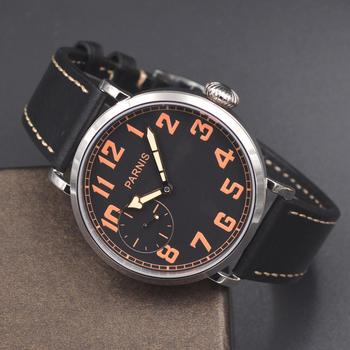 46mm Parnis luminous Hand Winding 6497 Mechanical Mens Watch black dial Orange number