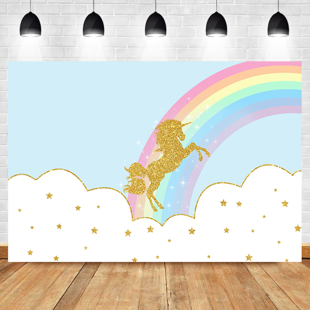 Neoback Unicorn Rainbow Backdrop Newborn Baby Shower Photo Background White Cloud and Blue Sky Photography  Backdrops
