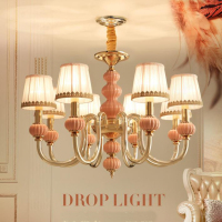 French style ceramic LED Chandelier lights pink glass drop lights Modern living room bedroom Chandelier lamps with fabric shade