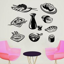 Sushi Food Wall Decal Restaurant Decor Japan Sticker Various Window Vinyl Poster Kitchen Mural AY1707