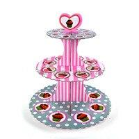 Ücretsiz Kargo 1 adet Cupcake Standı Çizgili ve Polka Dot Dekorasyon Düğün Pastası Standları 3 katmanlar Plaka Doğum Günü Parti Aksesuarları