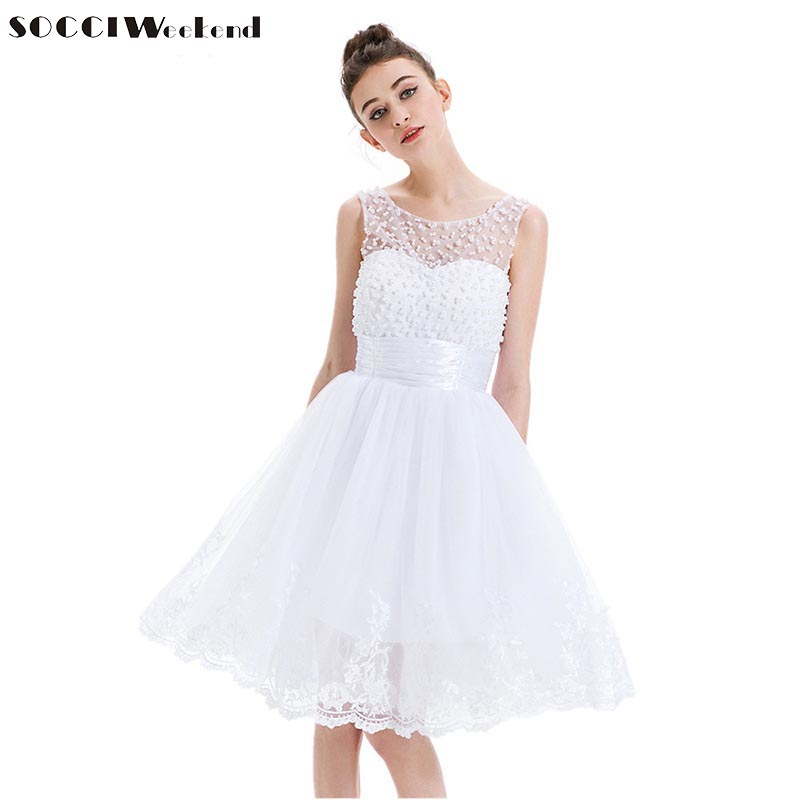 SOCCI New White Cocktail Dress Tulle Ärmlös Applique Lace Pärlor Kort Mini Vestidos De Prom Gown Tjejer Formell Fest Klänningar