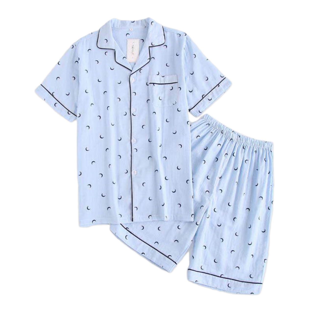 Couples simple moon blue pajamas sets men short pijama hombre Summer 100% gauze cotton short sleeves pyjamas korean pyjama homme Пижама