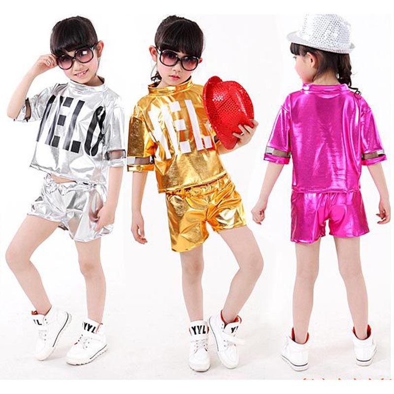 Free shipping,silver gold children girl boy performance flashing  Hip hop Jazz modern dance suit costume pants
