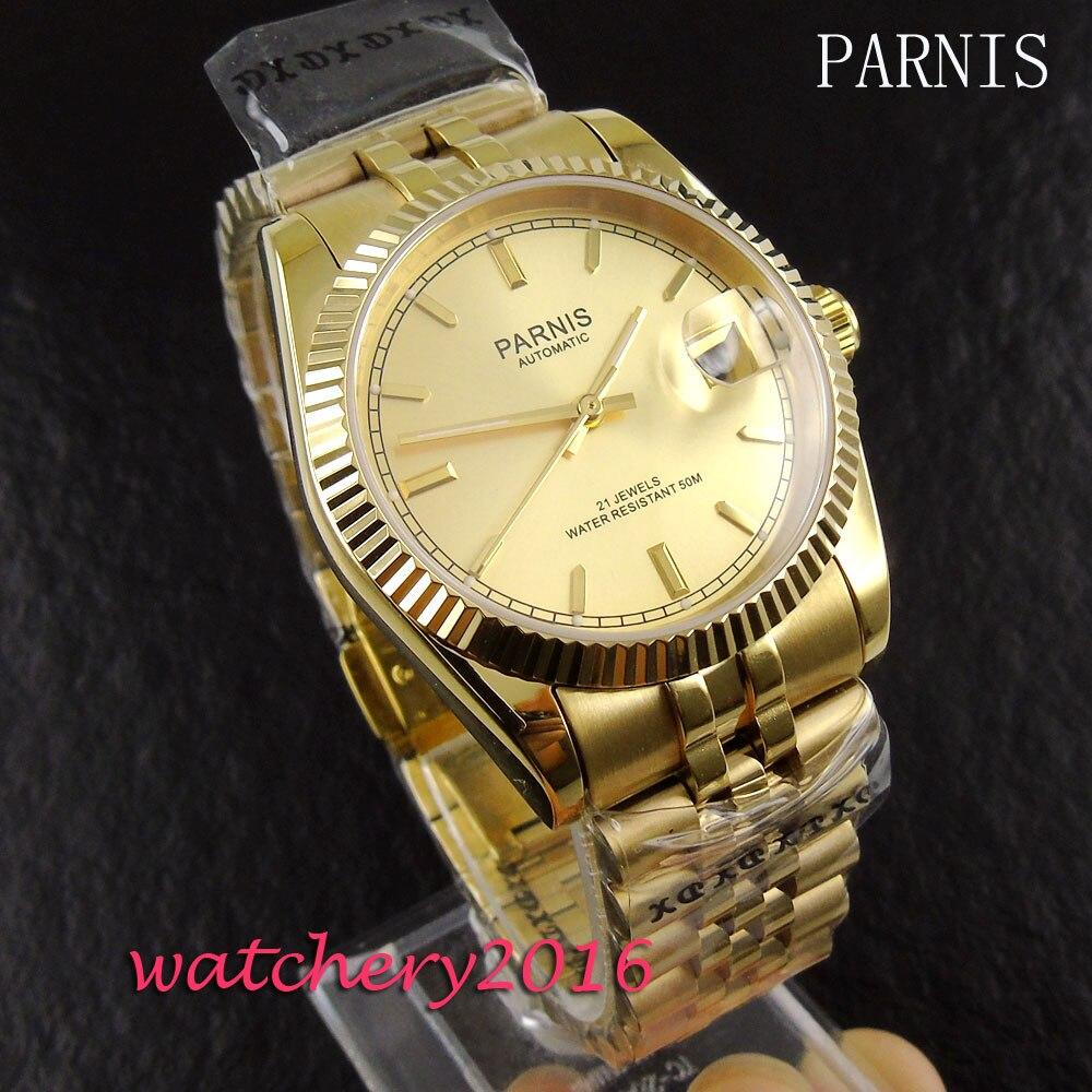 цена 36mm Parins golden dial sapphire glass date adjust 21 jewels miyota automatic movement Men's watch онлайн в 2017 году
