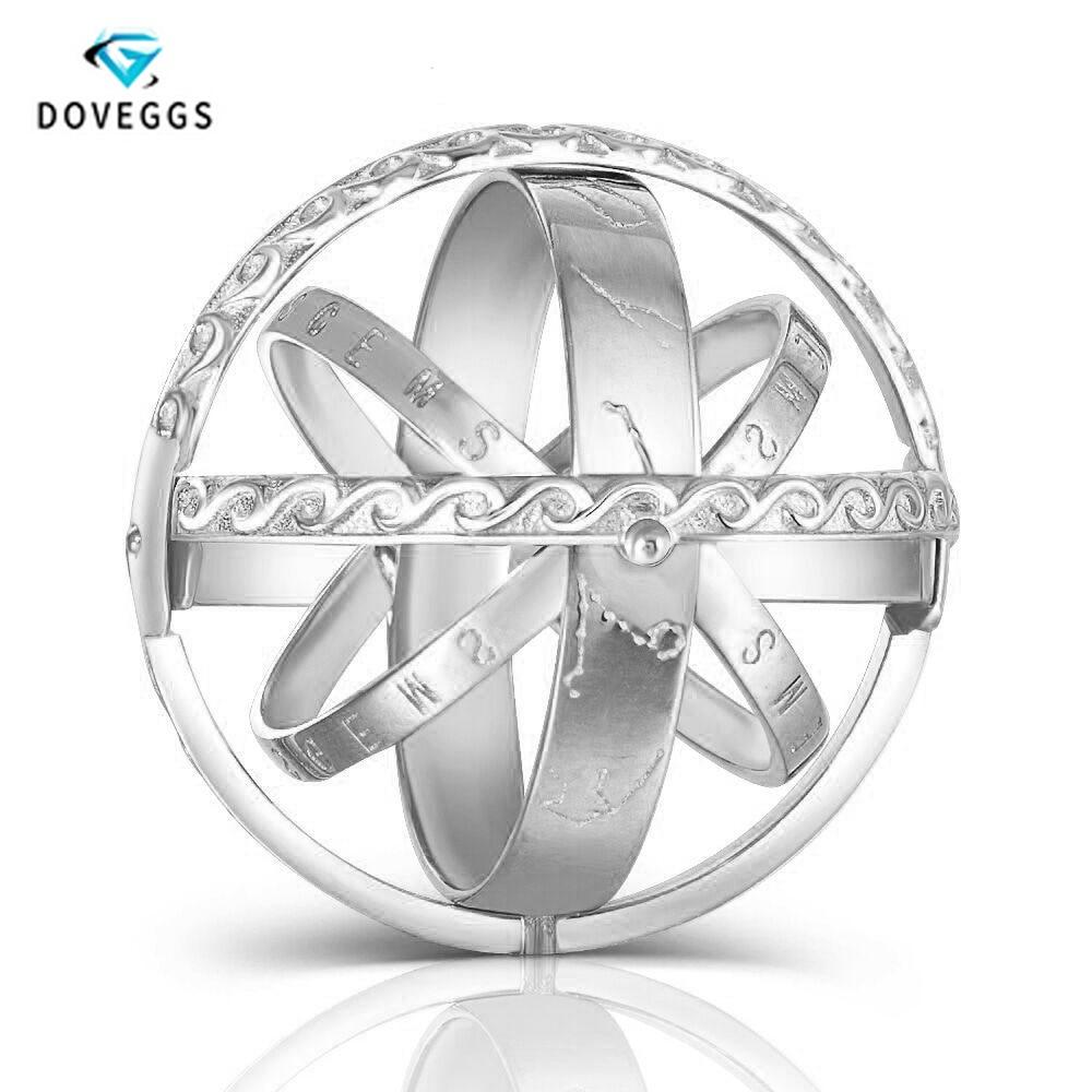 DovEggs Sterling solide 925 argent quotidien porter GH couleur Moissanite bijoux anneau forme de boule pour les femmes cadeau avec des Accents