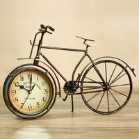 Reminiscent Metal Bike Model Table Clock Vintage Iron Clock Ornament Room Decor Gift and Craft Accessories for Art Collection
