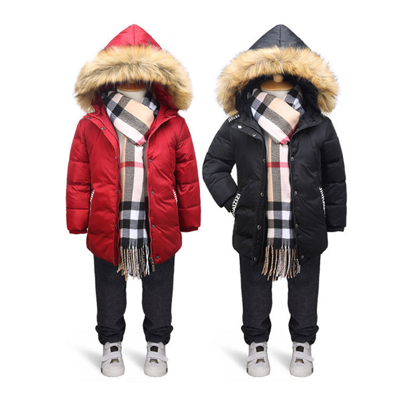 Boys and Girls Winter Jackets Hooded Solid White Duck Down Coat Doudune File Long Down Jacket