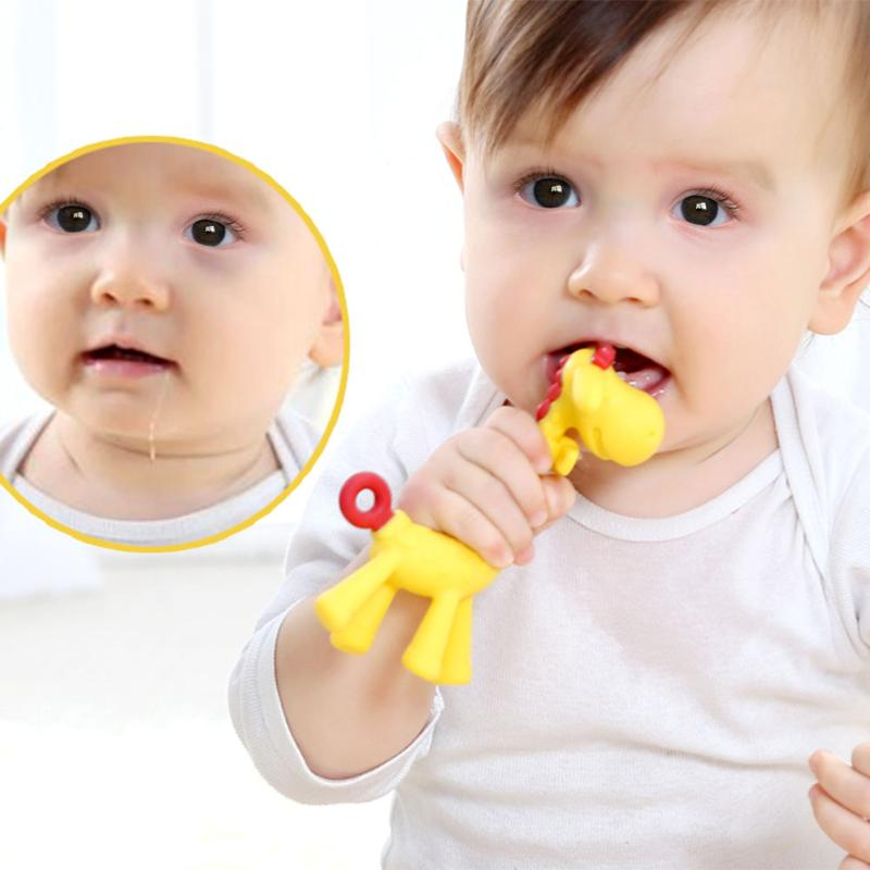 Baby Teethers Giraffe Gum Tooth Stick Food Grade Silica Gel Teething Necklace Hanging Toy Infant Pacifier Dental Care Chew Toy giraffe animal series many chew toy pet