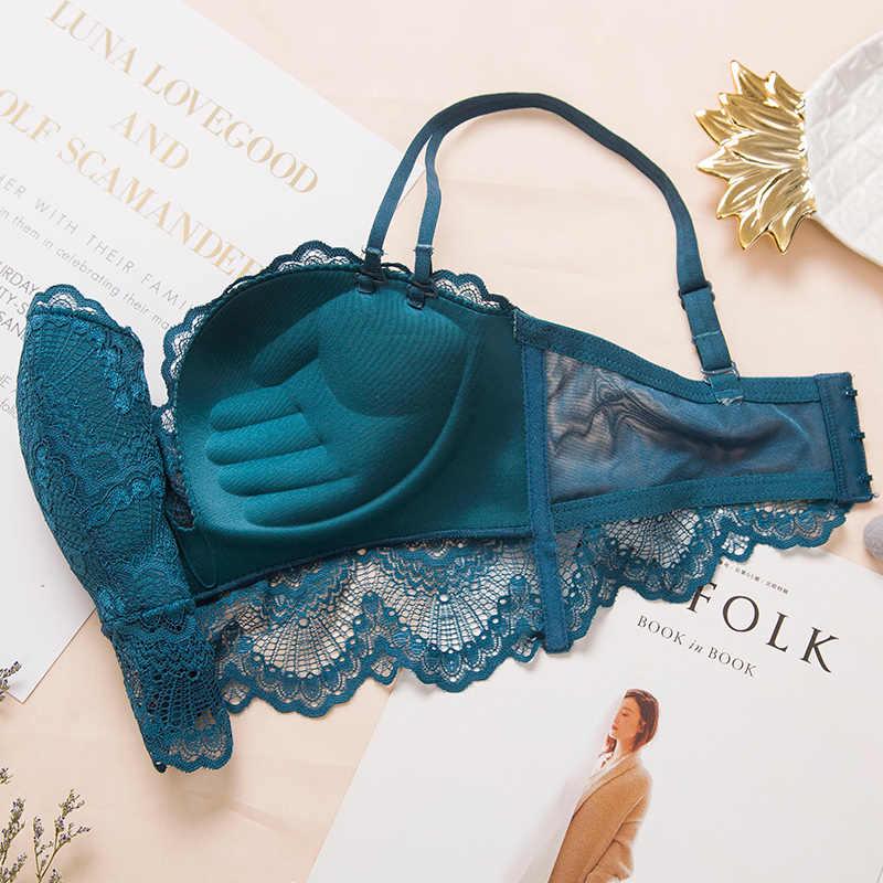 สบาย Gathering ชุดชั้นในเซ็กซี่ push up bra แหวน - ฟรีขอบลูกไม้นวดปาล์มถ้วย bra + ชุดชั้นในชุดชั้นใน femme 75C 80C 85C