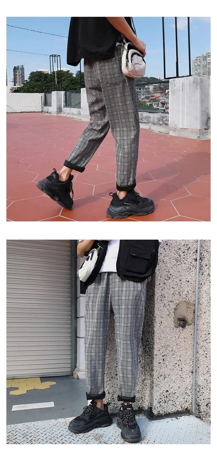 LAPPSTER Streetwear Yellow Plaid Pants Men Joggers 19 Man Casual Straight Harem Pants Men Korean Hip Hop Track Pants Plus Size 24