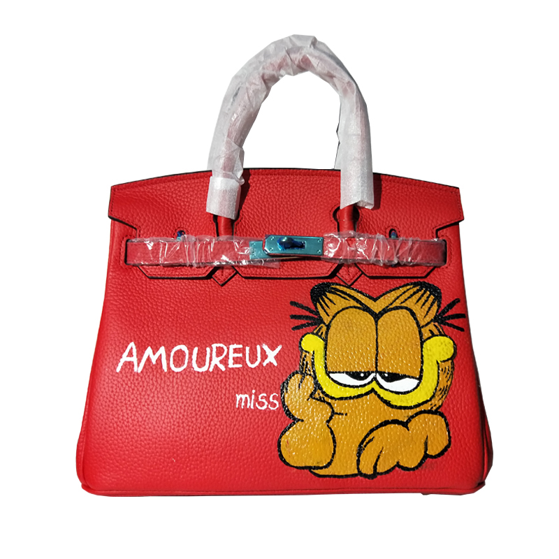 Creative Design Red Genuine Leather Anti Theft Top Hand bag Travel Bag Personality Cartoon Painting Gold lock Women Shoulder Bag ljt 2017 winter creative personality women shoulder bag 3d stereo cool dog pu leather cute cartoon backpack travel