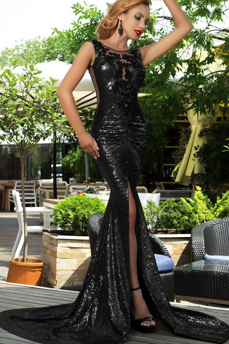 luxury gorgeous evening gown silver/gold/black sequins mermaid