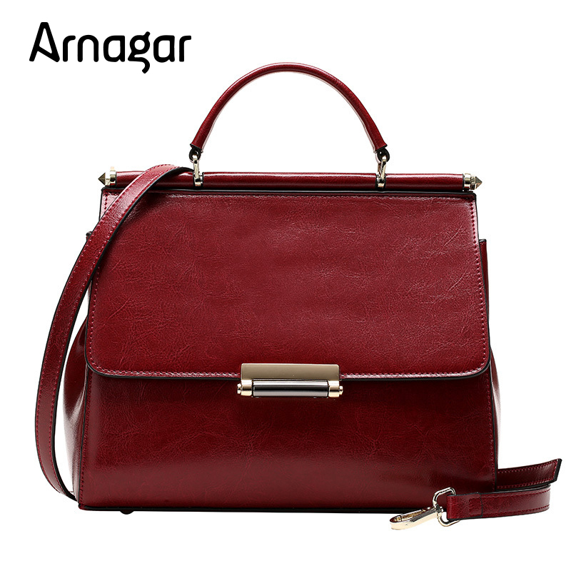 Arnagar High Quality Hot Sale Genuine Leather Shoulder Bag Solid Color Desige Messenger Female Fashion Famous Brand Tote Bags 2017 hot sale fashion men bags men famous brand design leather messenger bag high quality man brand shoulder bag wholesale price