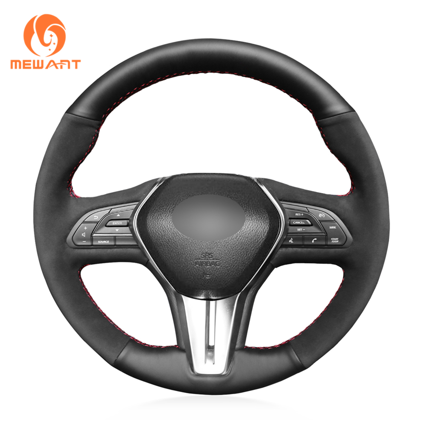 MEWANT Black Synthetic Suede Car Steering Wheel Cover For