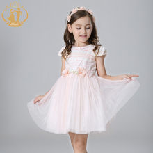 Nimble White girls dress Cute Bow Handmade Flowers Orangza O-neck Elegant Girl  Clothes kids dresses for girls moana vestidos a6c464d01378