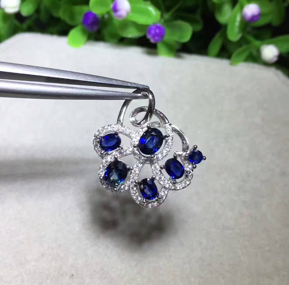 natural blue sapphire pendant S925 silver Natural gemstone Pendant Necklace trendy Elegant fan flowers women party gift jewelrynatural blue sapphire pendant S925 silver Natural gemstone Pendant Necklace trendy Elegant fan flowers women party gift jewelry