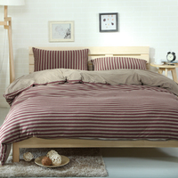 Papa&Mima Dark purple stripe Bedlinens Queen King Size simple style knitted Cotton duvet cover Fitted or Flat Bedsheet sets