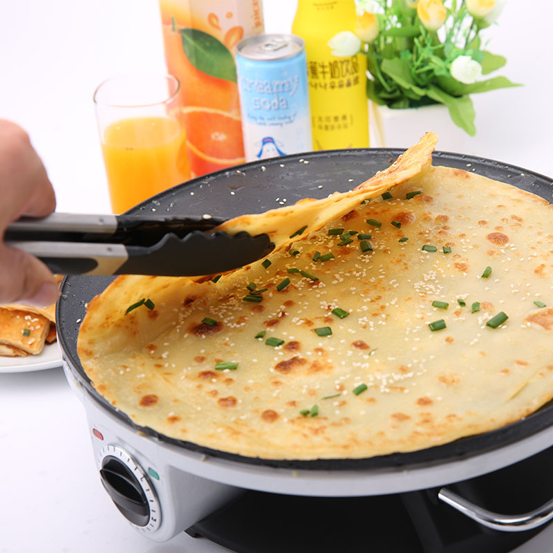 все цены на 220V Non-stick Electric Crepe Maker Machine Pancake Pot Chinese Spring Roll Food Maker Machine Chinese Hamburger EU/AU/UK/US онлайн