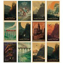 New vintage poster Harry Potter Hogwarts Express Diagon Alley Hogsmeade etc Film kraft paper wall Movie Posters home decor(China)