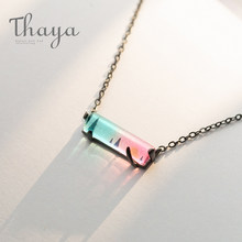 Thaya Sunset Symphony Chain Necklace Gradation Crystal Beauty Transparent Pendant for Women S925 Silver Black Chain Jewelry(China)