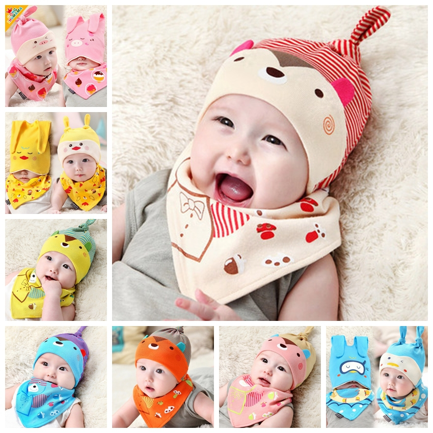 Head Cap Babys Hat Bibs Set Babys Cotton Cap For B...