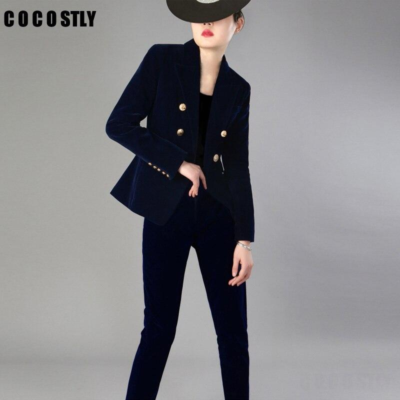 Fashion Velvet Pant Suits Women Autumn New Fashion Career OL British Style Two-piece Velvet Suit Women Jacket Suits