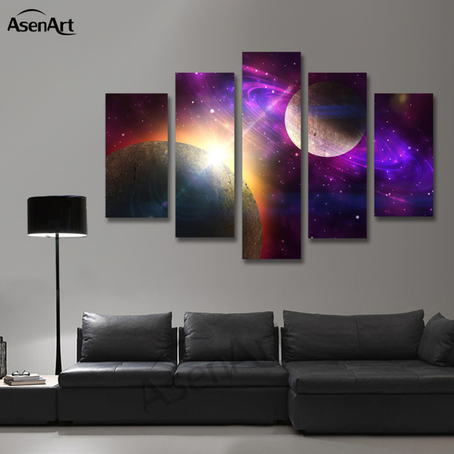 Beautiful 5 Panel Canvas Art Fantastic Star Painting Outer Space Painting For Living  Room Wall Decor Canvas Design Inspirations