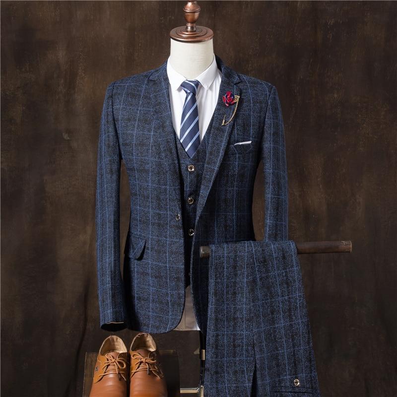 Bleu veste Pantalon Gilet Livraison D'affaires ardoisé De Mode Automne Costumes 2017 Gratuite Bande Haute gris orange Hommes Costume Mariage Qualité wqwrad5