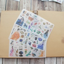 3 Sheets Protagonist of Ancient Chinese Novels Style Paper Sticker Scrapbooking DIY Gift Packing Label Decoration kirby paper bag style 3 and g3 pkg of 3 197289sw