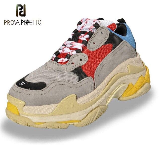 Prova Perfetto 2018 кроссовки женские очаровательные цветные туфли на платформе дышащие прогулочные туфли шнуровка Повседневная обувь Большие размеры обувь
