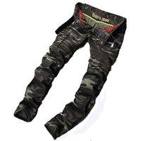 2017 chegam novas moda masculina slim calça casual estilo militar Camuflagem militar multi-bolso skinny lápis zipper macacão do exército
