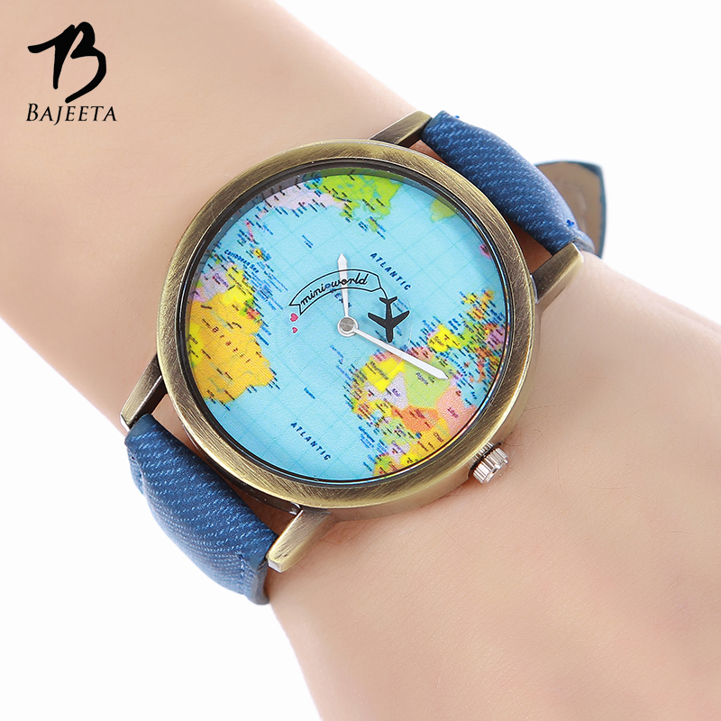 BAJEETA Vintage Leather Quartz Women Watch Fashion Casual Men Wrist Watch Ladies World Map Aircraft Watches Relogio Feminino fashion global travel by plane map men women watches casual denim quartz watch casual sports watch for men relogio feminino