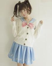 JK uniform font b Sailor b font sweater embroidered long sleeved sweater knit cardigan font b